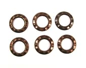 Vintaj Natural Brass 16mm Small Gear Open Hardware and Findings Component - 6 Pieces