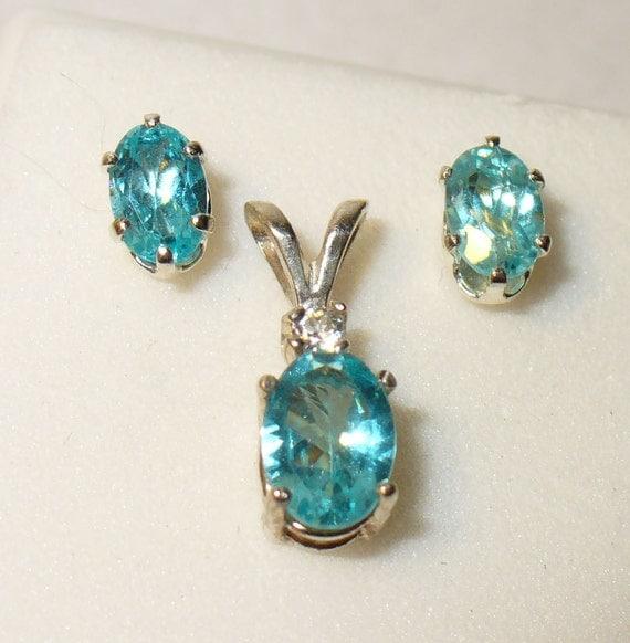 Apatite Earrings & Pendant in Solid Sterling Silver Settings - Genuine, Natural Gemstones