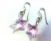 Shooting Stars - Handmade Light Pink Swarovski Crystal Earrings. Rehab Crafts. NYC.