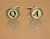 Typewriter Key Cufflinks - White - Personalize