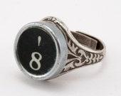 Number 8 Antique Typewriter Oak Leaf Ring - Fully Adjustable