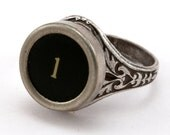 Number 1 - Black or White Vintage Typewriter Key Oak Leaf Ring -Jewelry Box - qacreate