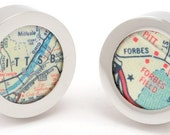 Pittsburgh Forbes Field Steelers Pirates Map Chrome Cufflinks