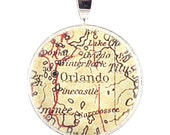 Map Jewelry - Orlando Florida Vintage Map Pendant and Necklace with Gift Box