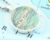 New York Brooklyn Vintage Map Pendant and Necklace with Gift Box
