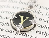 Typewriter Key Pendant and Necklace in The Initial Y