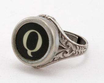 Letter Q Antique Typewriter Oak Leaf Ring - Fully Adjustable