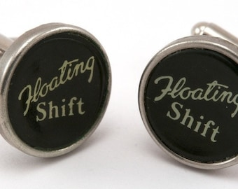 Men's Typewriter Key Cuff Links in the Authentic Floating Shift Keys
