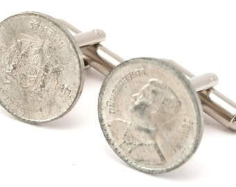 Thai Coin Cufflinks - 10 Satang Post WW2 Era - Baht