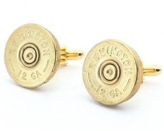 Bullet Cufflinks - Remington 12 Gauge Shotgun Shell Cufflinks with Cuff Links Box