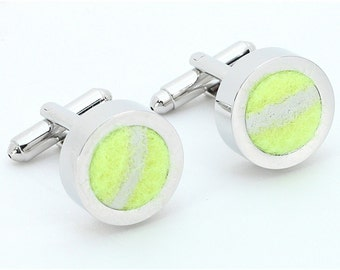 Women or Men's Tennis Cufflinks Jewelry  - Made from Authentic Tennis Balls