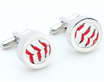 Authentic Baseball Silver Cufflinks  ((( Made with a REAL baseball )))