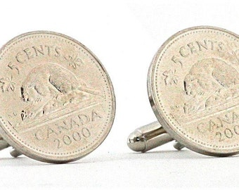 Canada Nickel Cufflinks - Made from real coins