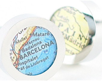 Barcelona Spain Vintage Map Chrome Cufflinks with Gift Box