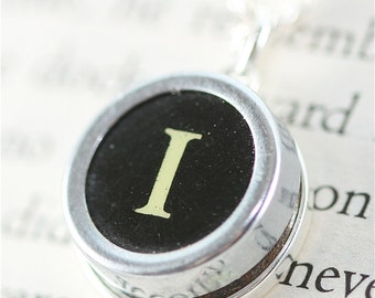 Vintage Typewriter Key Pendant and Necklace - Initial I