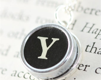 Typewriter Key Pendant and Chain, Authentic Typewriter Key in Initial Y