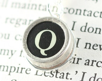 Vintage Typewriter Key Pendant and Necklace - Initial Q