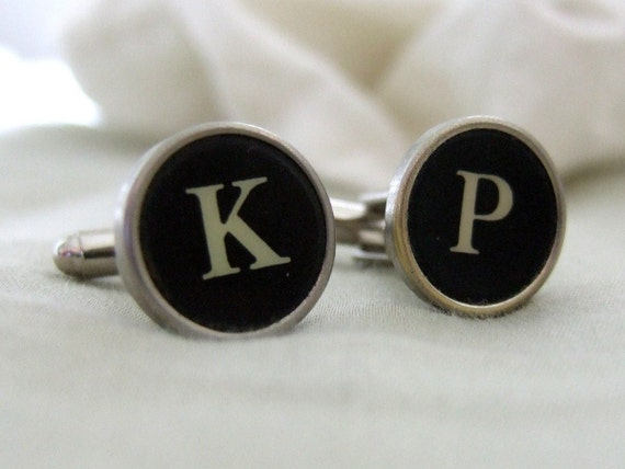 Create your own Vintage Authentic Typewriter Keys Cufflinks. Customized Cuff Links Antique Black - All Letters Available