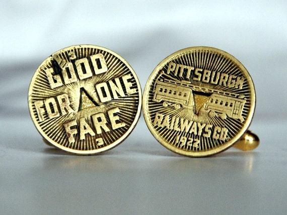 Cufflinks - Pittsburgh Railway Token
