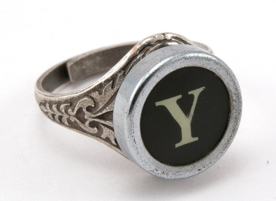 Typewriter Key Oak Leaf Ring, Authentic Typewriter Key in Letter Y