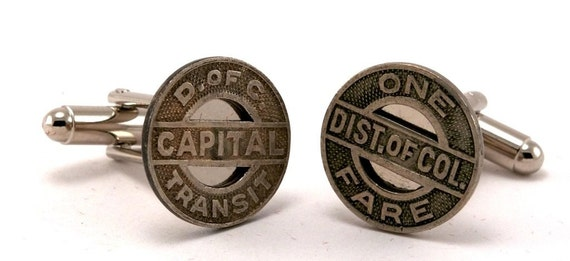 Washington DC Cufflinks - Made from transit tokens