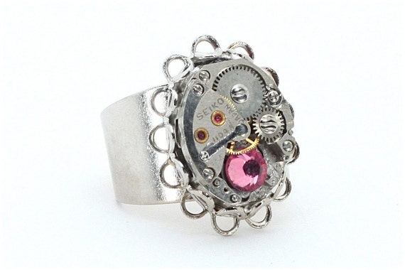 SALE - Art Deco Double Lace Edge Steampunk Ring with Swarovski Crystal