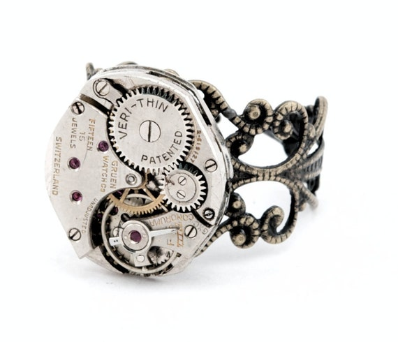 Steampunk Ring -  Filigree Watch Movement Industrial Ring