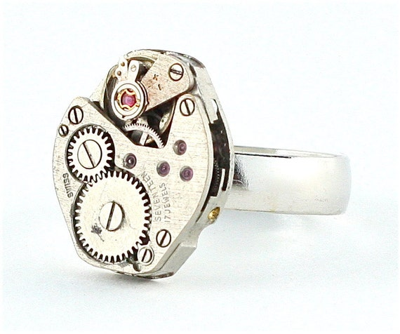 Steampunk Cocktail Ring with Gear and Cog Detail