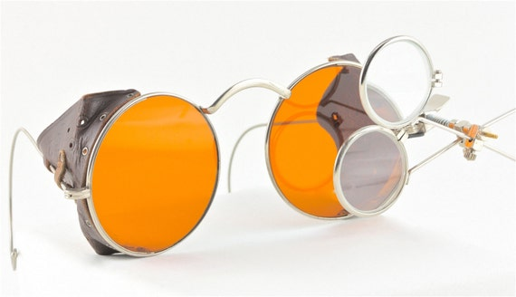 Vintage Steampunk Goggles with Side Leather Shields and Magnifying Loupes