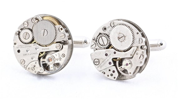 Round Steampunk Cuff Links with Gift Box - Handcrafted by QACreate in California