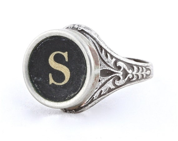 Ghostly and Aged Typewriter Oak Leaf Ring with S Initial