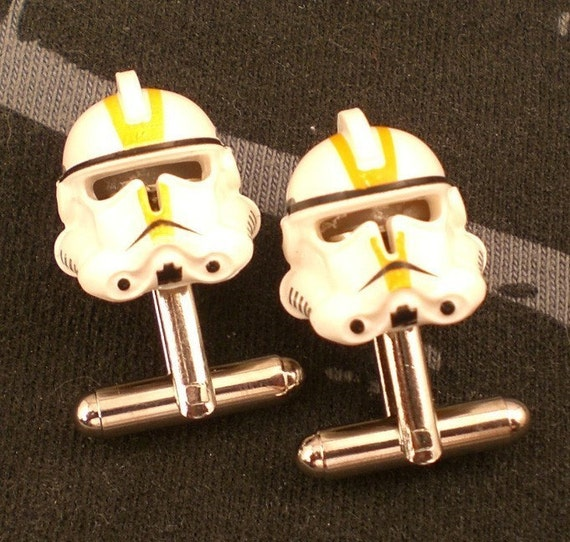 Star Wars Lego Yellow Clone Trooper Silver Cufflinks with Free Gift Bag