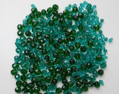 Emerald Green Faceted Glass Firepolished Czech Beads, rounds and shapes