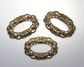 Oval filigrees, brass ox, open center, great to wrap stones, 3