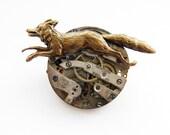 The clockwork fox winds the springs - steampunk brooch