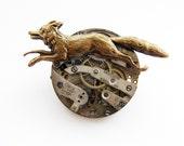 steampunk fox brooch