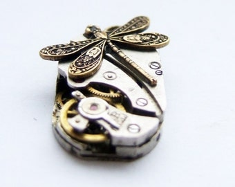 Steampunk dragonfly pendant, tiny