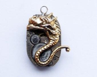 Medieval gargoyle steampunk pendant - 2