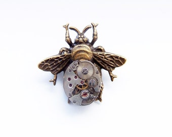 Steampunk bee brooch