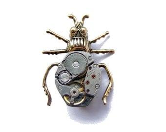 Steampunk clockwork bug brooch