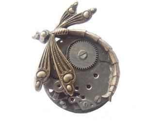 Steampunk dragonfly brooch