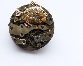 Steampunk fish brooch