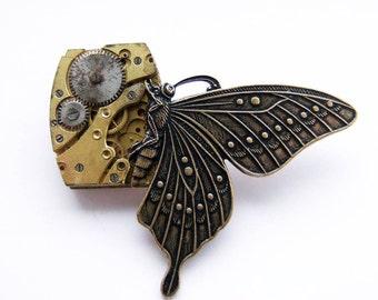 Steampunk butterfly brooch