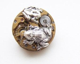 silver frogs on clockwork lillypad, steampunk brooch