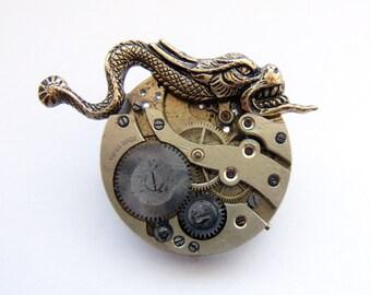 Steampunk gargoyle brooch