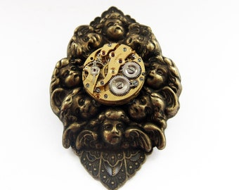 Steampunk brooch, time goes slowly in hell