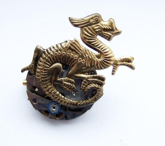 Steampunk Chinese dragon brooch