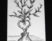 ACEO Original   Pencil Drawn Heart Shaped Bamboo Plant