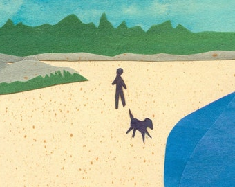 Beach Walk - Cut Paper Art Collage - 8 x 10  Print - Walking the Dog on the Beach