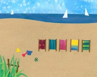 Collage Art Print - On the beach - 8 x 10 or 10x13, Beach Chairs by the Ocean